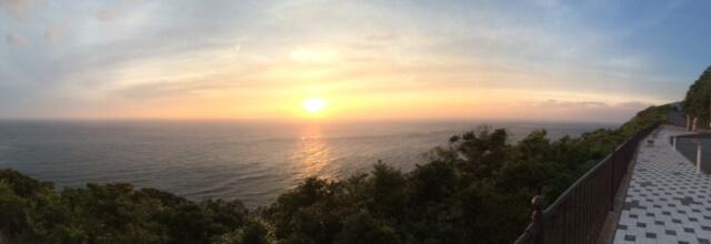 出会い岬からの夕陽