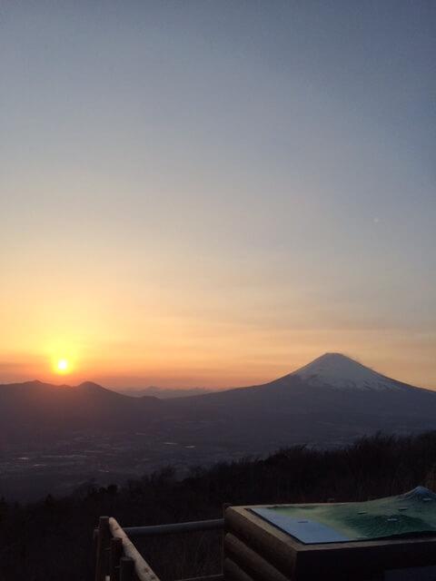 大観山からの夕陽画像