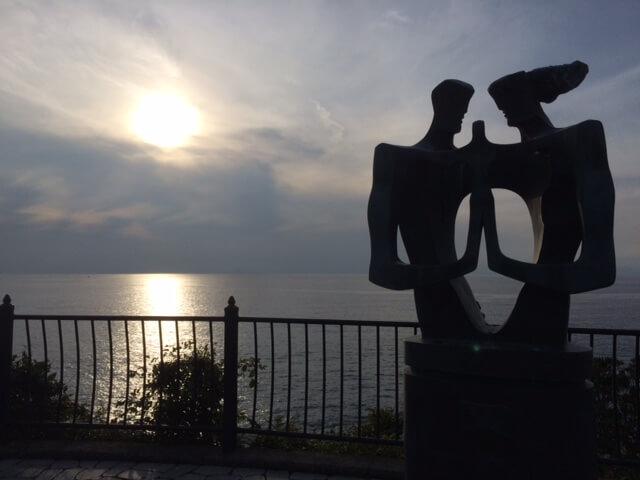 旅人岬と夕陽の画像