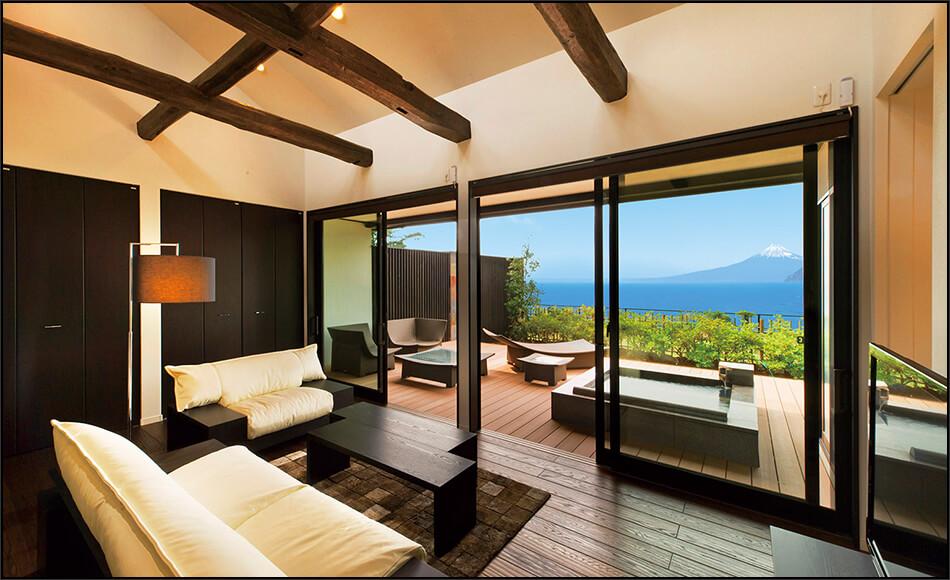 伊豆のおすすめ高級旅館 富岳群青の客室