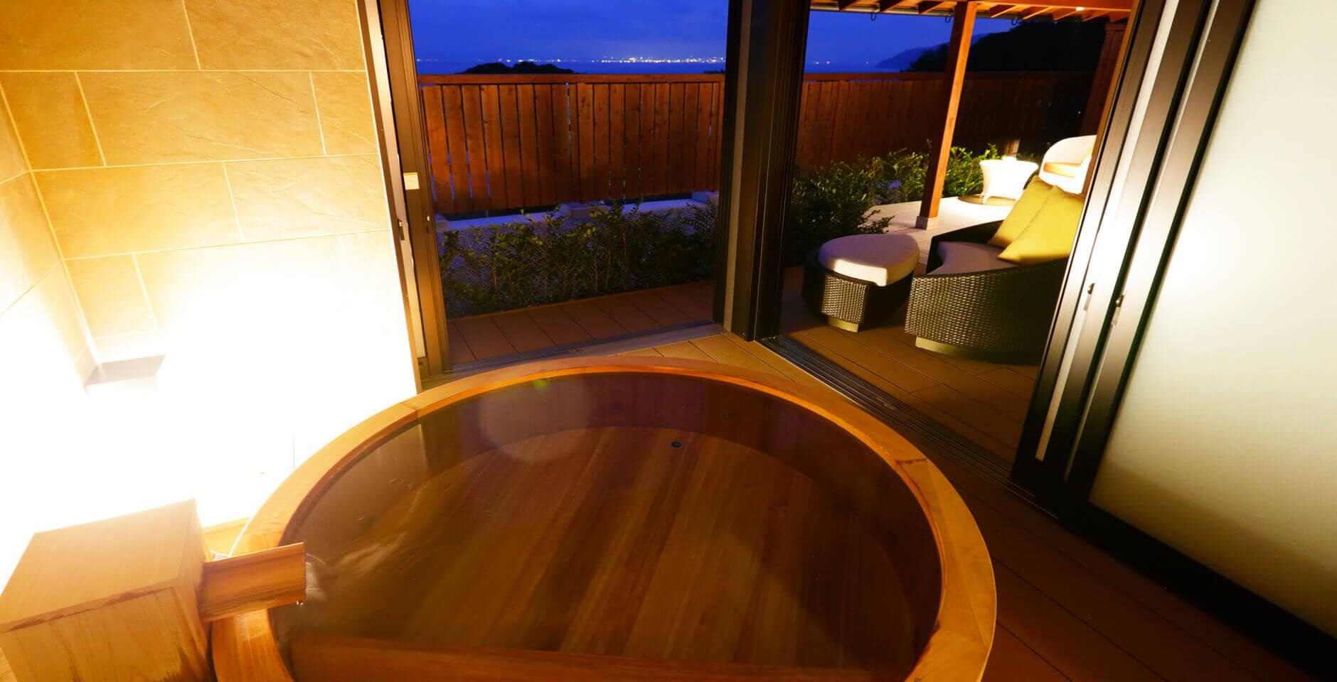 伊豆のおすすめ高級旅館 ふたりとわにの客室露天風呂