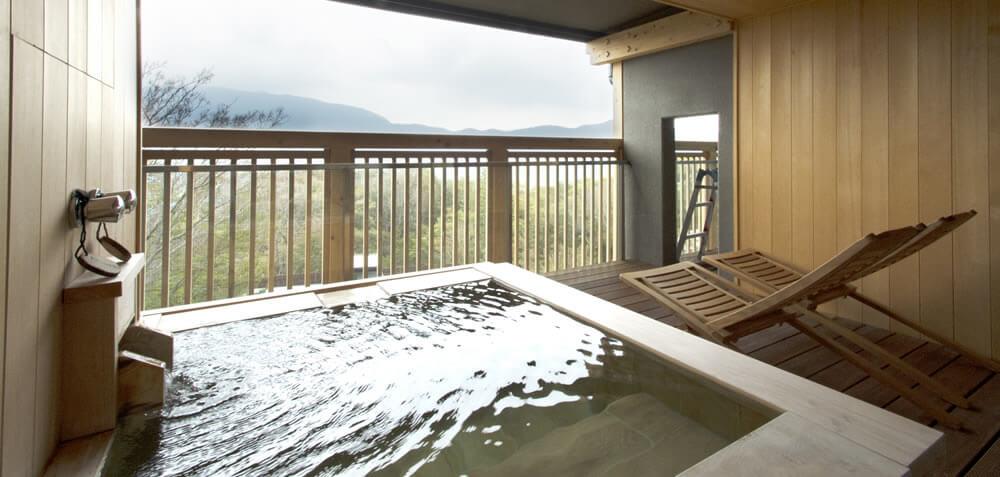 箱根のおすすめ高級旅館 円の杜 客室露天風呂