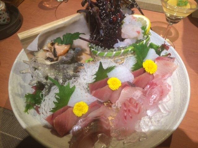 伊豆で誕生日を祝いたい宿 いなとり荘の夕食のお刺身
