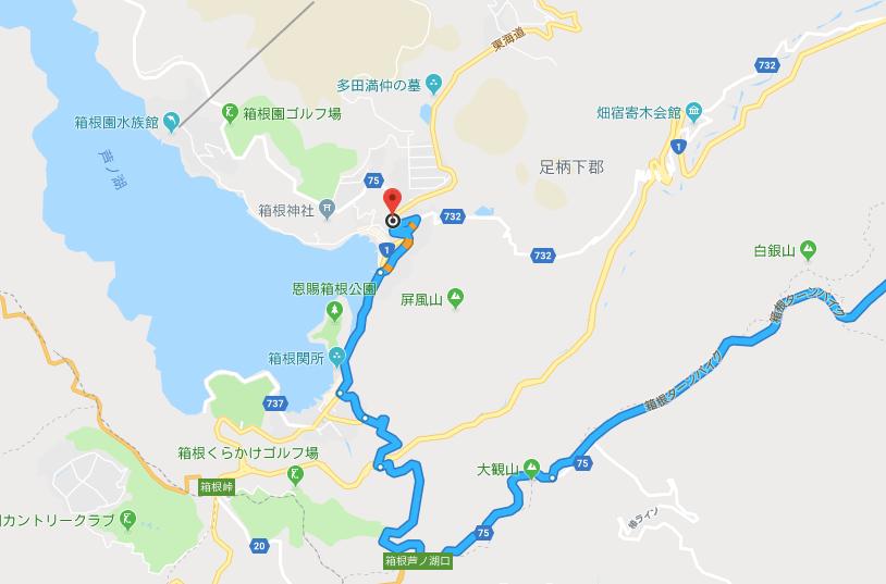 箱根ターンパイクから芦ノ湖へのルート