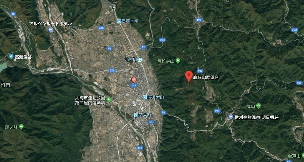 鷹狩山展望台の地図