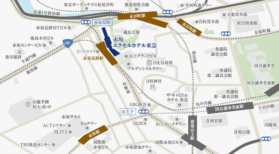 赤坂エクセルホテル東急アクセスマップ