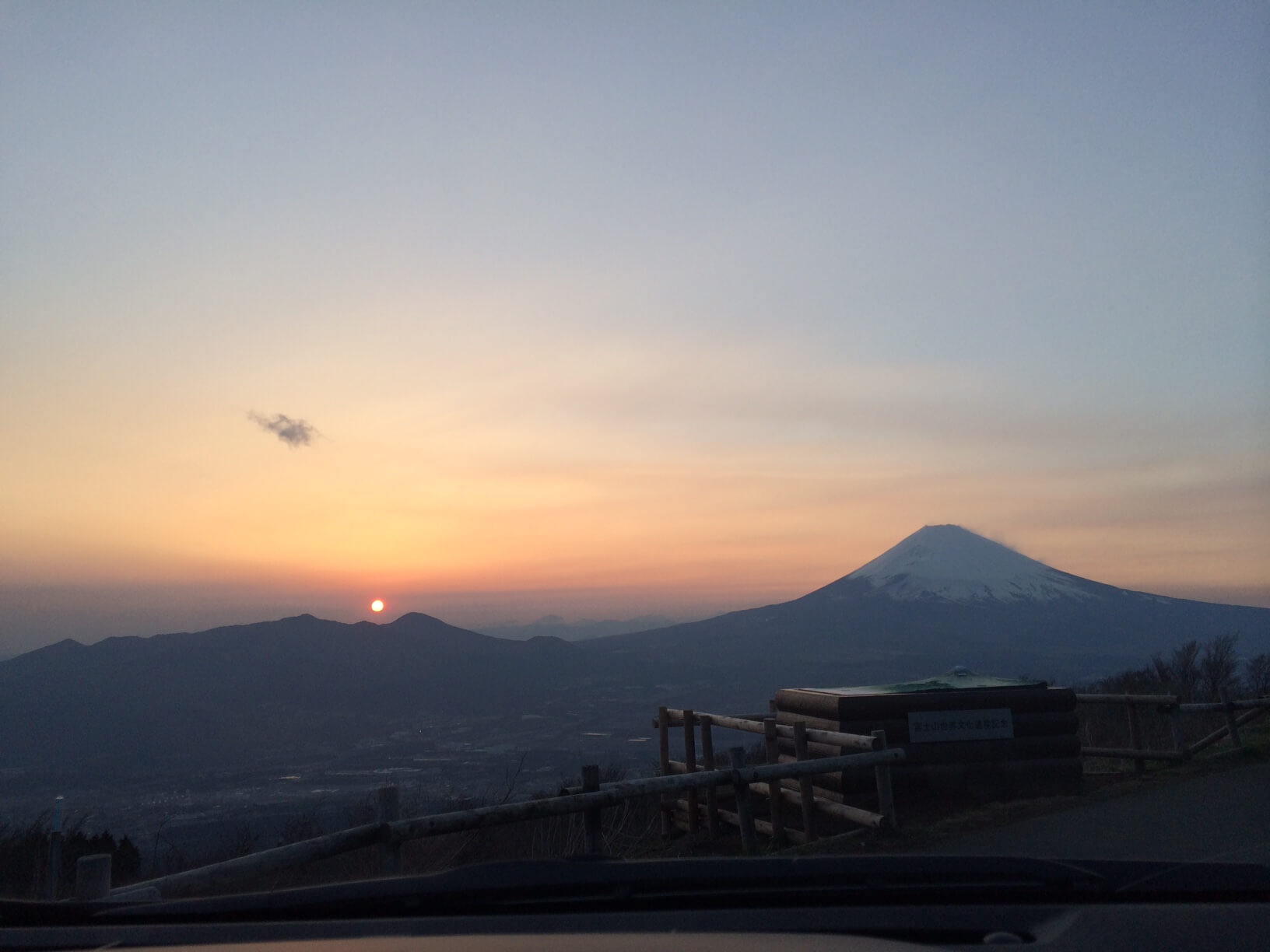 三国峠と富士山と夕日