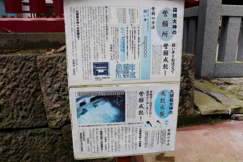 箱根神社の九頭竜神社の成就水盤