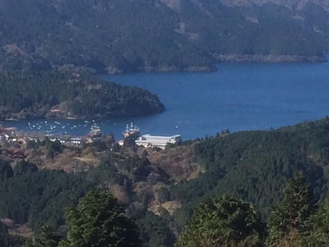 大観山から見える芦ノ湖フェリー