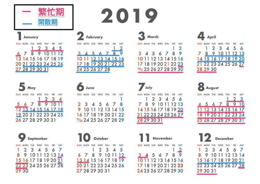 旅行の閑散期カレンダー