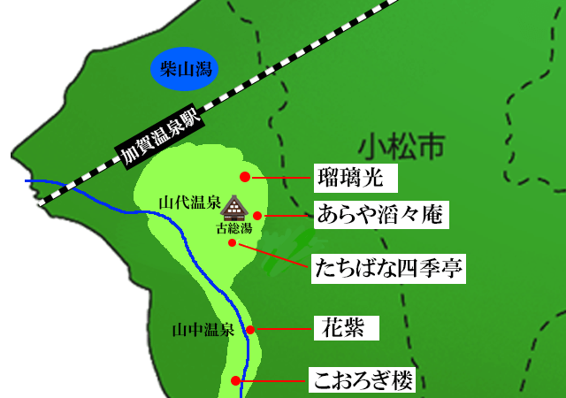 加賀温泉の高級旅館マップ