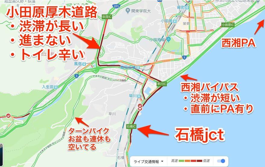 西湘バイパス石橋jctの渋滞