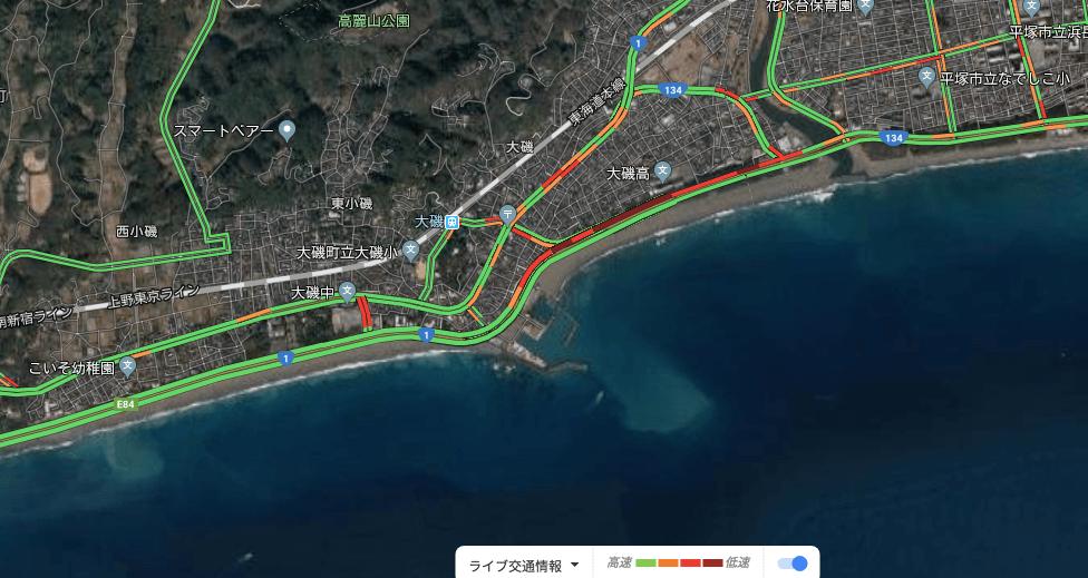 西湘バイパス上り線、唐ヶ原信号の渋滞