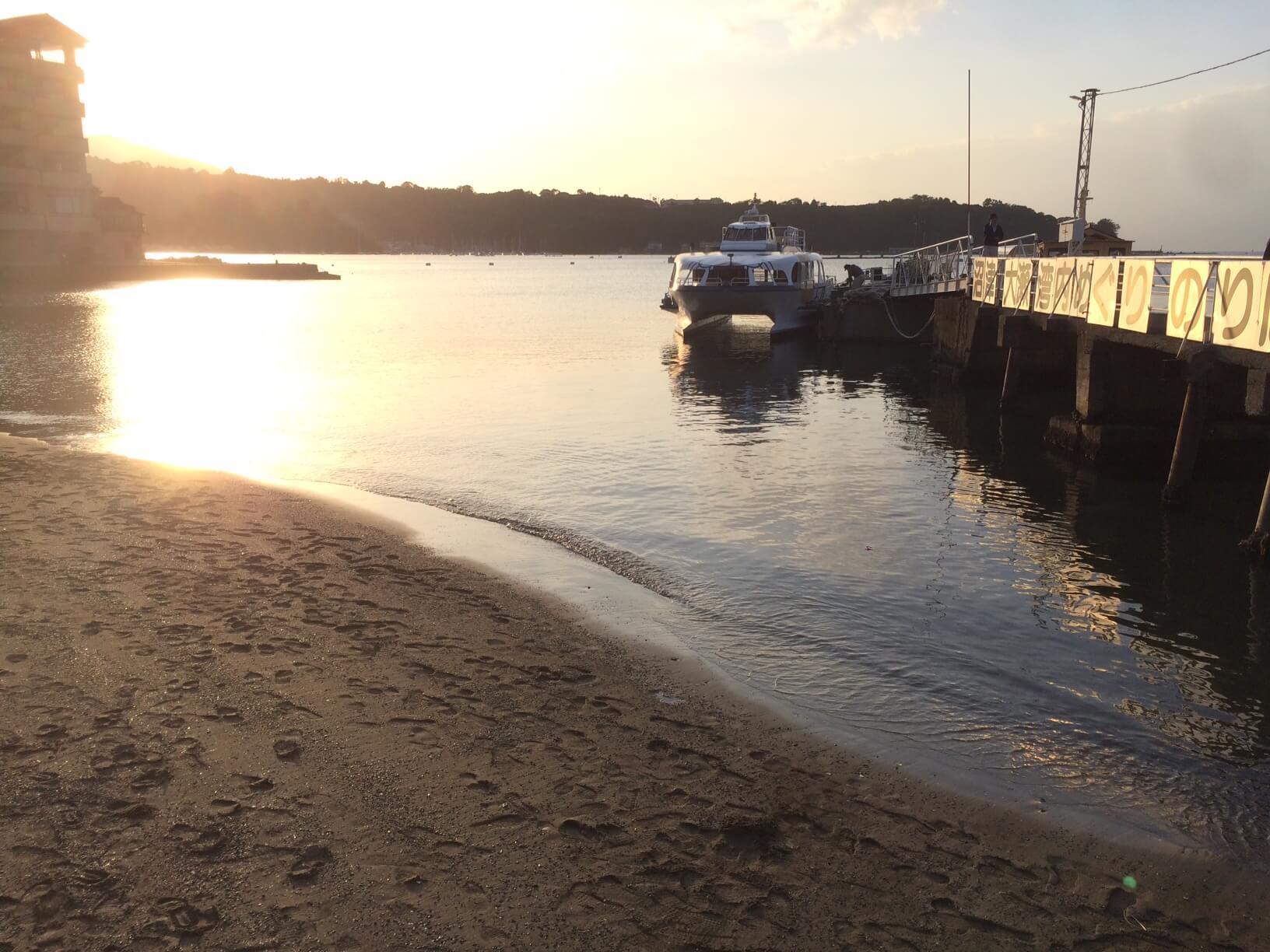 三津海水浴場からの夕日