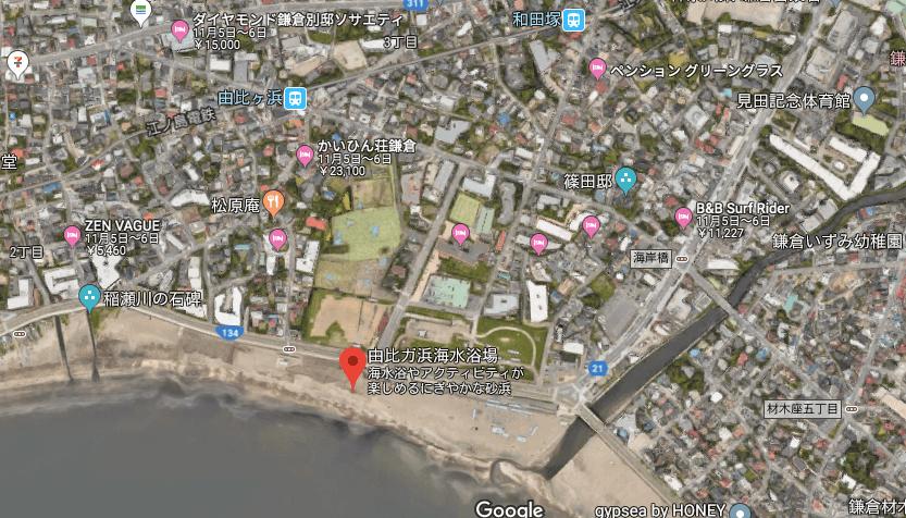 由比ケ浜の地図