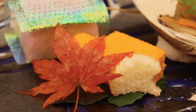 浜の湯の夕食の料理:前菜 ニンジンカステラと銀杏長芋