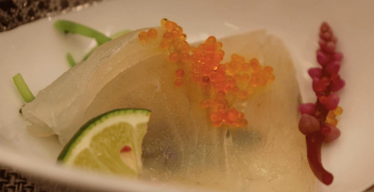 浜の湯の夕食の料理:先付 すずきの昆布締め
