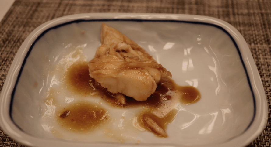浜の湯の夕食の料理:金目鯛の煮付けのほぐし