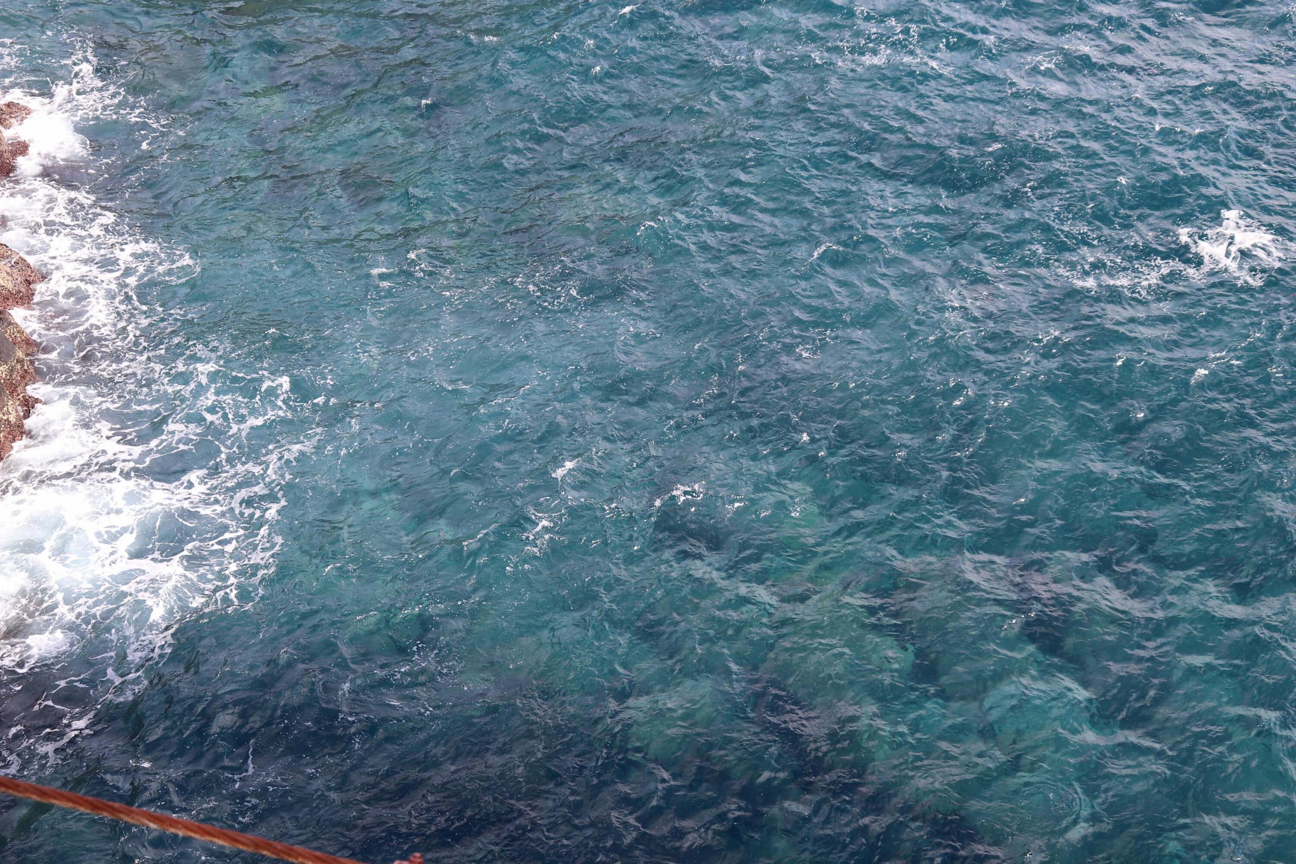 城ヶ崎海岸の門脇吊り橋からの真下の眺め