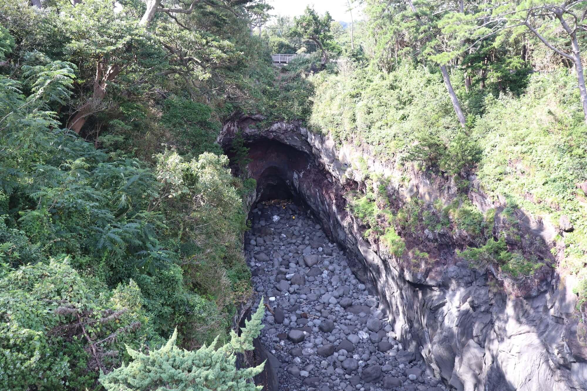 城ヶ崎海岸の門脇吊り橋からの眺め