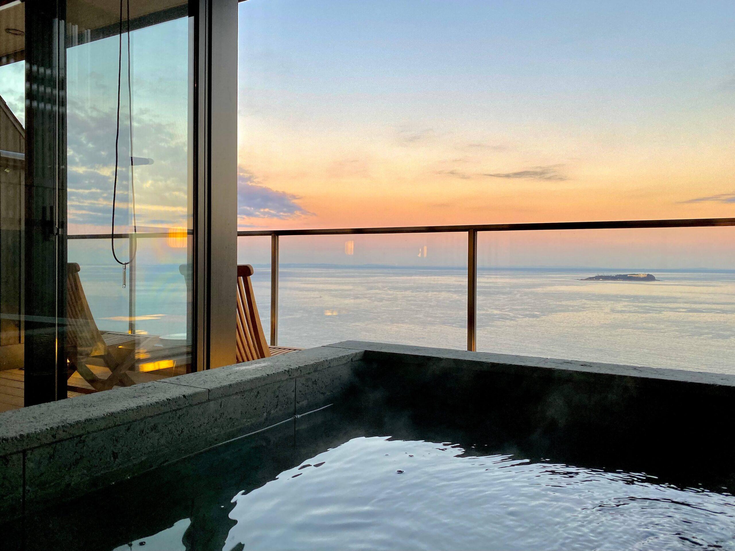伊豆の高級旅館:熱海さんがの客室露天(慶太ブログ)