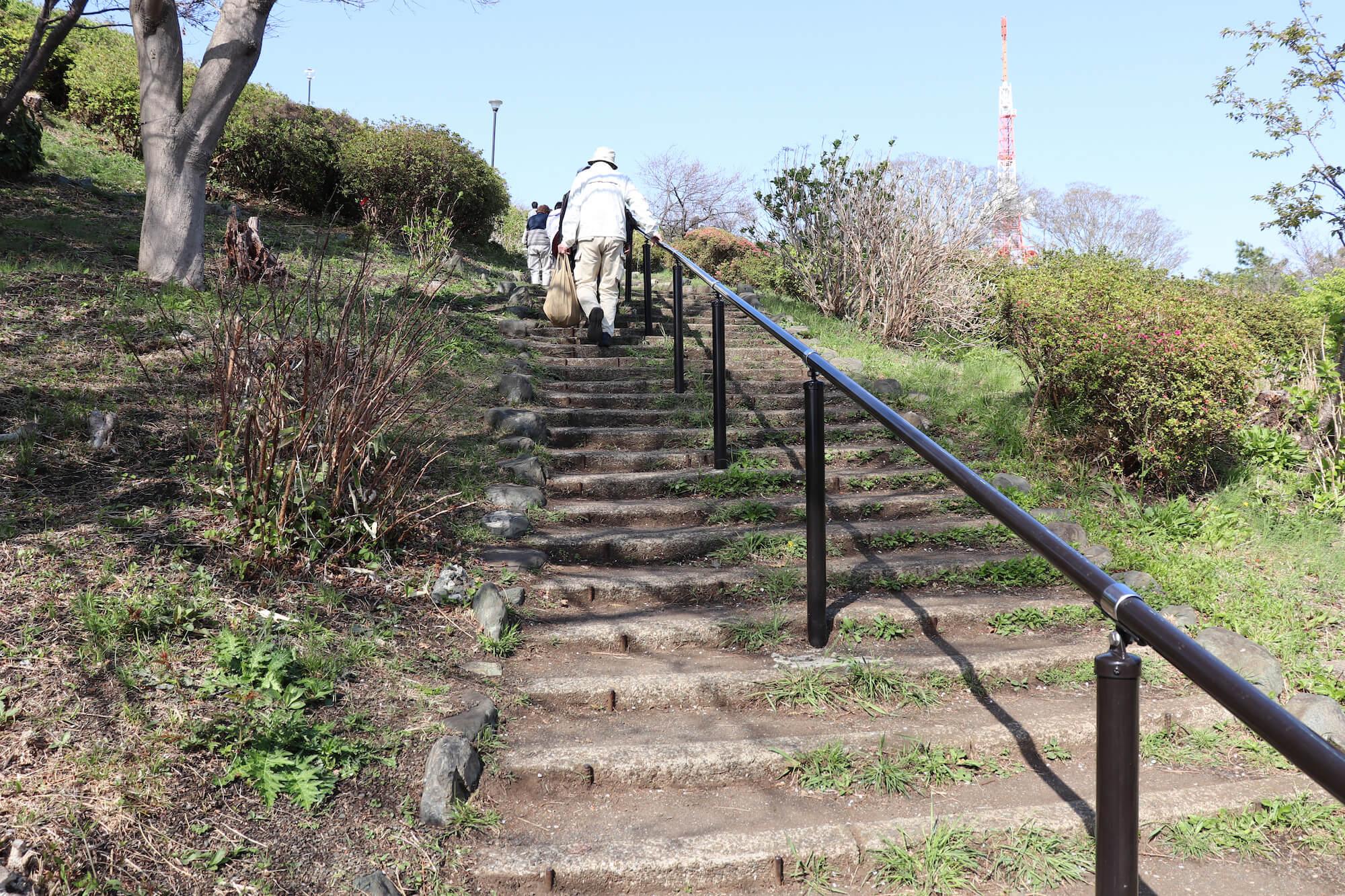 湘南平の駐車場からの階段