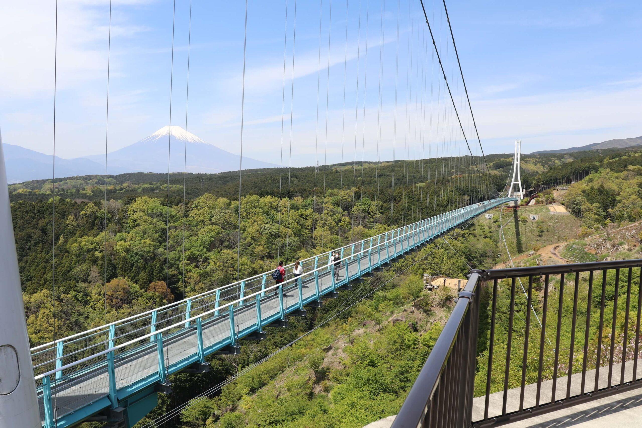 三島スカイウォークの吊り橋と富士山