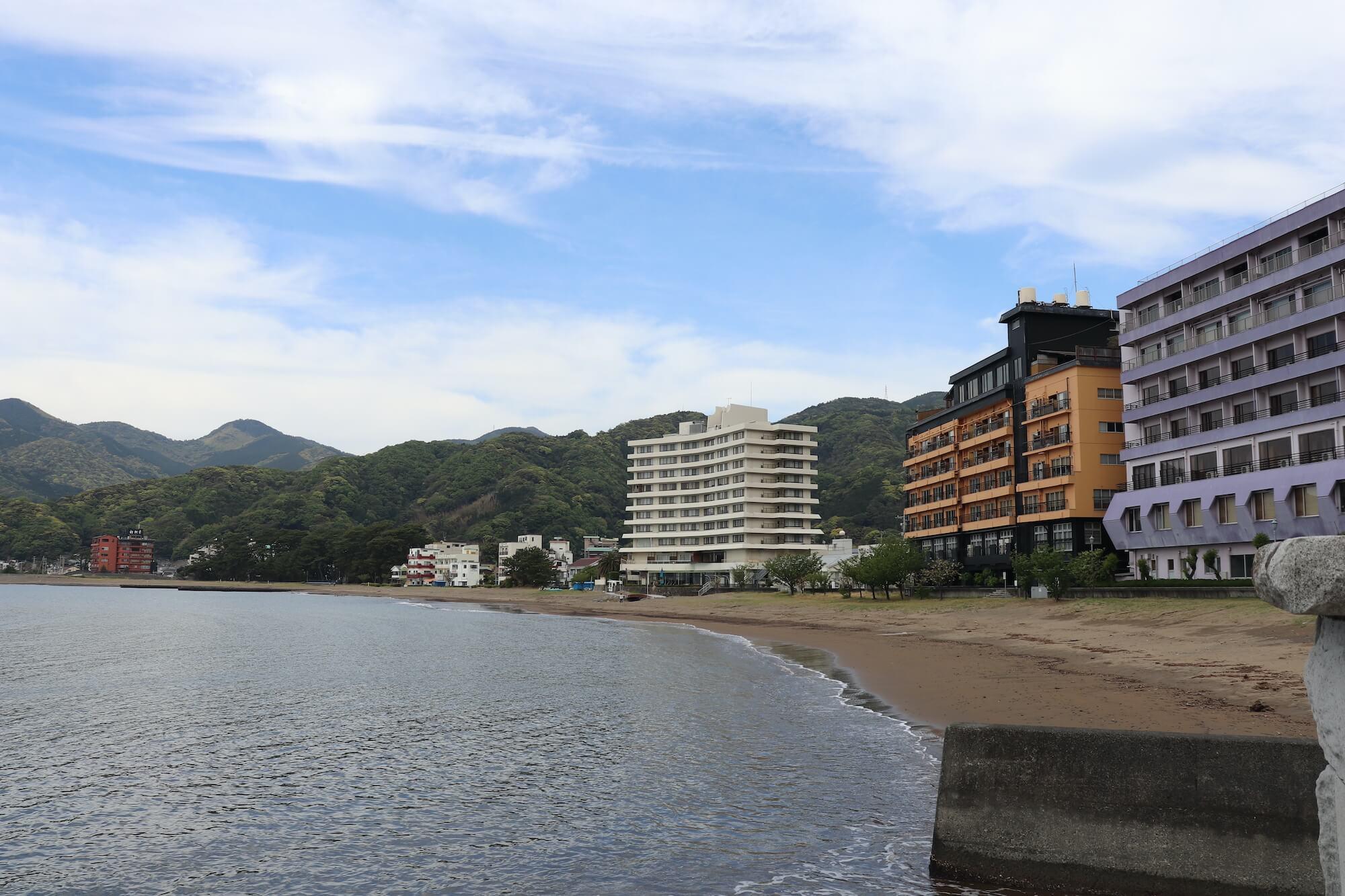 西伊豆土肥海水浴場の眺め