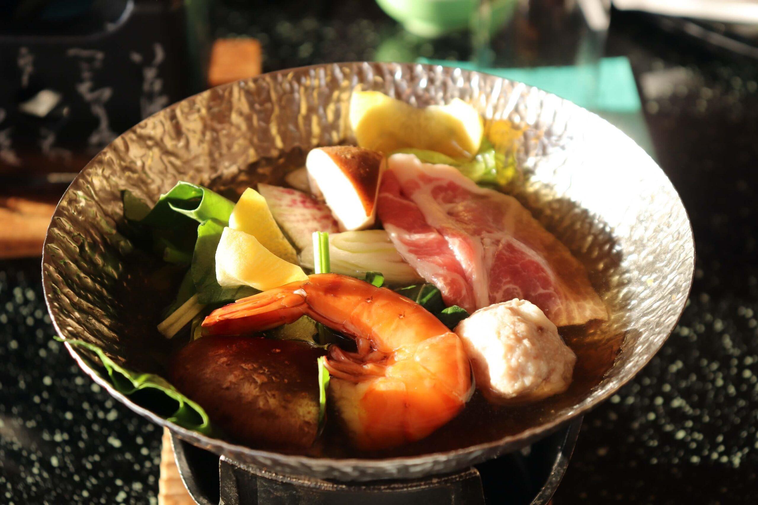粋松亭の絆会席料理(夕食)の柚子胡椒鍋