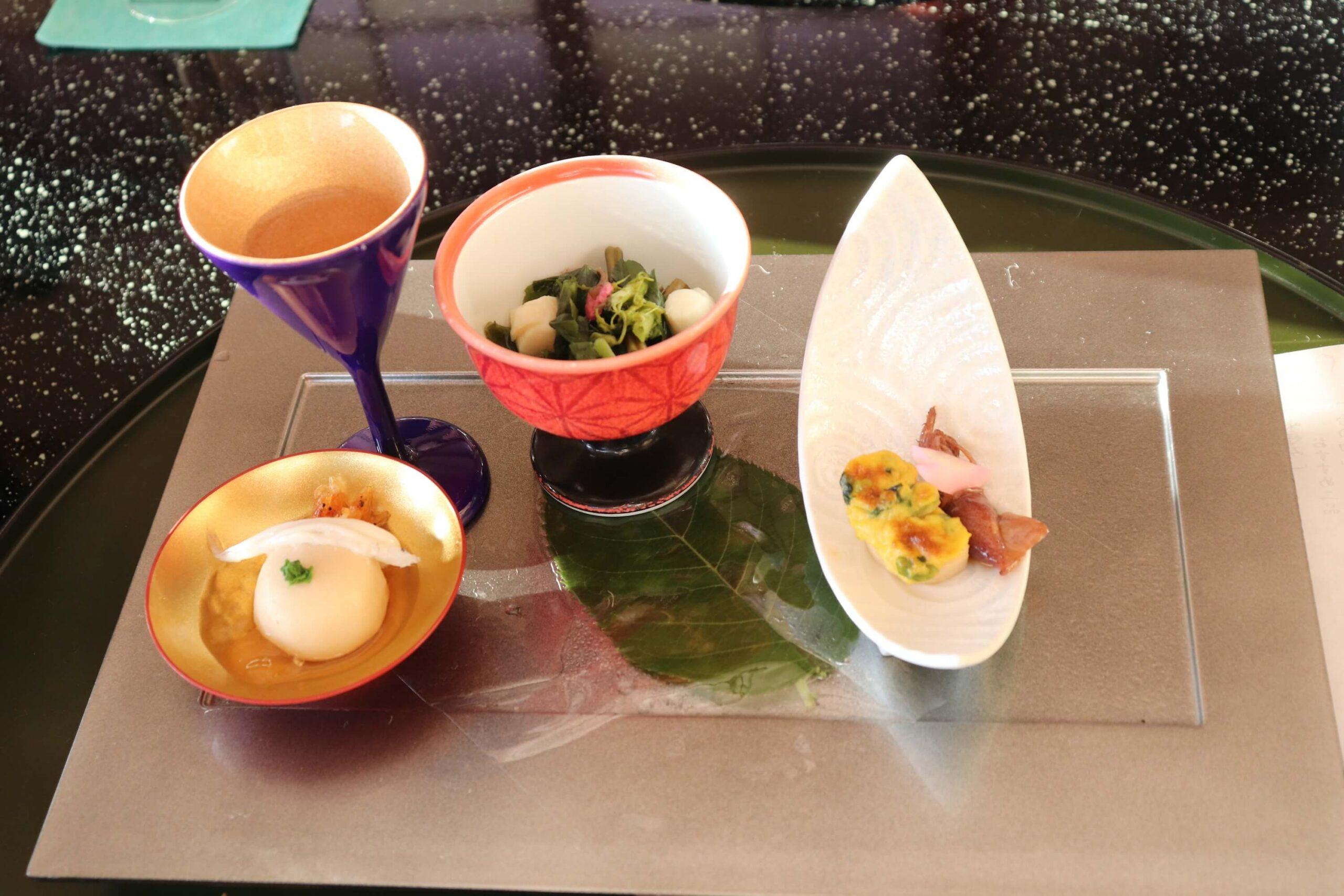 粋松亭の夕食の前菜
